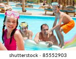 kids and father in pool | Shutterstock . vector #85552903