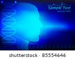 illustration of human head on abstract medical background - stock vector