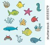 cartoon sea animals set | Shutterstock .eps vector #85555579