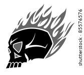 burning scull tattoo   Shutterstock .eps vector #85576576