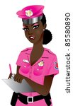 Raster version Illustration of a Pink Police Woman 1. - stock photo