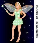 Raster version Illustration for Halloween of a dressed up Fairy Costume. - stock photo