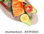 food  grilled salmon on big... | Shutterstock . vector #85593001