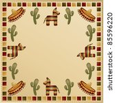 mexican frame with motifs and... | Shutterstock .eps vector #85596220