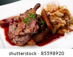 grilled pork with spicy salad... | Shutterstock . vector #85598920