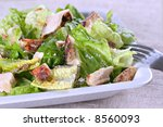 barbecue chicken salad with cheese - stock photo