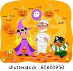 kids at halloween party | Shutterstock . vector #85601950
