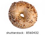 Fresh baked multi-grain bagel isolated - stock photo