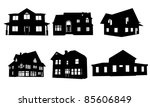 Stock vector house silhouettes isolated on white 85606849