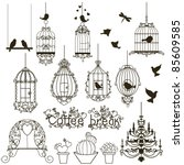 Stock vector vintage birds and birdcages collection isolated on white clipart vector 85609585