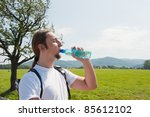 man drinking water in mountains | Shutterstock . vector #85612102