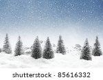 Fir Trees With Snowfall
