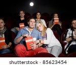 young scared couple at the... | Shutterstock . vector #85623454