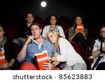 young couple at the movie... | Shutterstock . vector #85623883