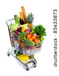 metal shopping cart with...   Shutterstock . vector #85633873