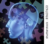 Stock photo puzzled mind and brain teasers symbol featuring a human head with jigsaw puzzle pieces for the 85637623