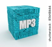MP3. The concept of the words on white isolated background. 3d - stock photo
