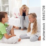 Kids having a quarrel and fight - tough parenthood concept - stock photo