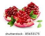 sweet pomegranate with leafs... | Shutterstock . vector #85653175