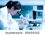 scientist using a microscope in ... | Shutterstock . vector #85654102