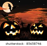 A graveyard, bats and pumpkin Halloween background - stock photo