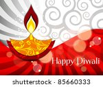 vector diwali lamp with lighting | Shutterstock .eps vector #85660333