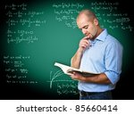 caucasian teacher read book and ... | Shutterstock . vector #85660414