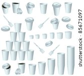 Paper cup icon set isolated on whit. Vector - stock vector
