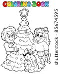 coloring book christmas topic 3 ... | Shutterstock .eps vector #85674595