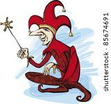 illustration of court jester in ... | Shutterstock . vector #85674691