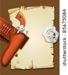 wild west poster with handgun...   Shutterstock .eps vector #85675084