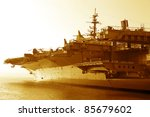 Aircraft Carrier In The Ocean...