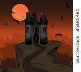 halloween landscape with dark... | Shutterstock .eps vector #85682461