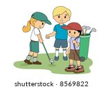 children playing golf   vector | Shutterstock .eps vector #8569822