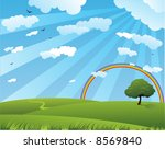 peaceful summer landscape with...   Shutterstock .eps vector #8569840
