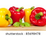 red and yellow paprika  isolated | Shutterstock . vector #85698478