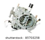 New carburetor. Isolated on white background  with clipping path - stock photo