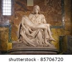 Small photo of Michaelangelo marble sculpture of the Pieta in st. Peter's Cathedral (Rome)