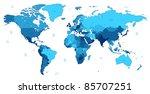 detailed world map of blue... | Shutterstock . vector #85707251