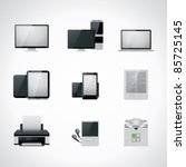 vector black and white computer ...   Shutterstock .eps vector #85725145