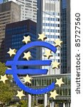 the euro sign on a sunny day ... | Shutterstock . vector #85727560