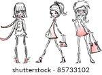 cartoon fashionable girls | Shutterstock .eps vector #85733102