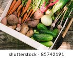 Harvest Of Fresh Vegetables In...