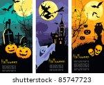 set vertical halloween banners | Shutterstock .eps vector #85747723