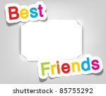Vector empty photo frame. Best friends. Realistic cut, takes the background color - stock vector