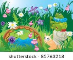 frog riding snail   fairy tale... | Shutterstock . vector #85763218