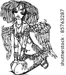 angel girl with tattoo on her... | Shutterstock . vector #85763287