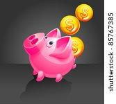 piggy bank and falling money.... | Shutterstock .eps vector #85767385