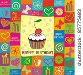 happy birthday card. | Shutterstock . vector #85775683