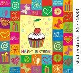 happy birthday card. | Shutterstock . vector #85775683